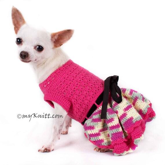 Rosa Hund Kleidung Rüschen Hund Kleid häkeln Chihuahua   Etsy