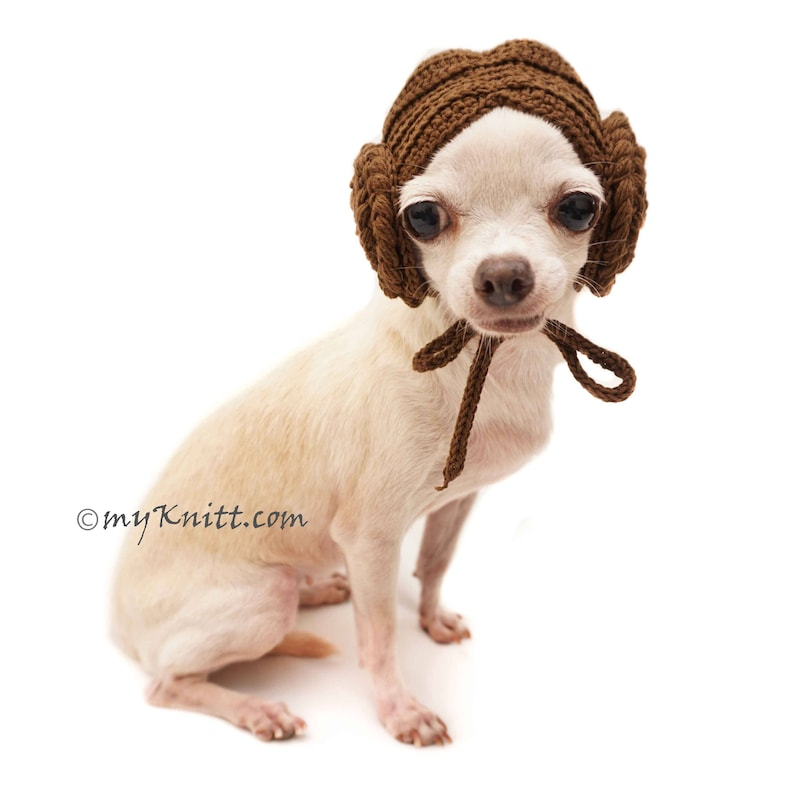 970377820eb Princess Leia Dog Wigs, Dog Hats, Dog Hats Winter, Dog Hat Crochet,  Chihuahua Hats, Boudoir Hat, Cat Hats, DW2 Myknitt - Free Shipping