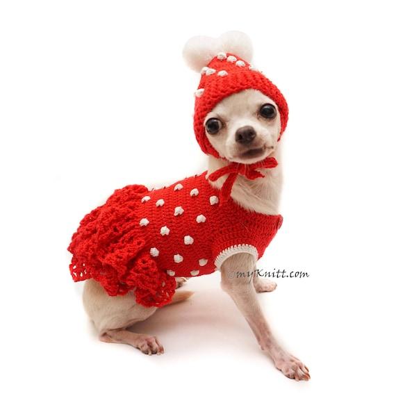 Rot-weiß gepunktetem Hund Kleid roter Hund Pom Pom Hund Hut   Etsy