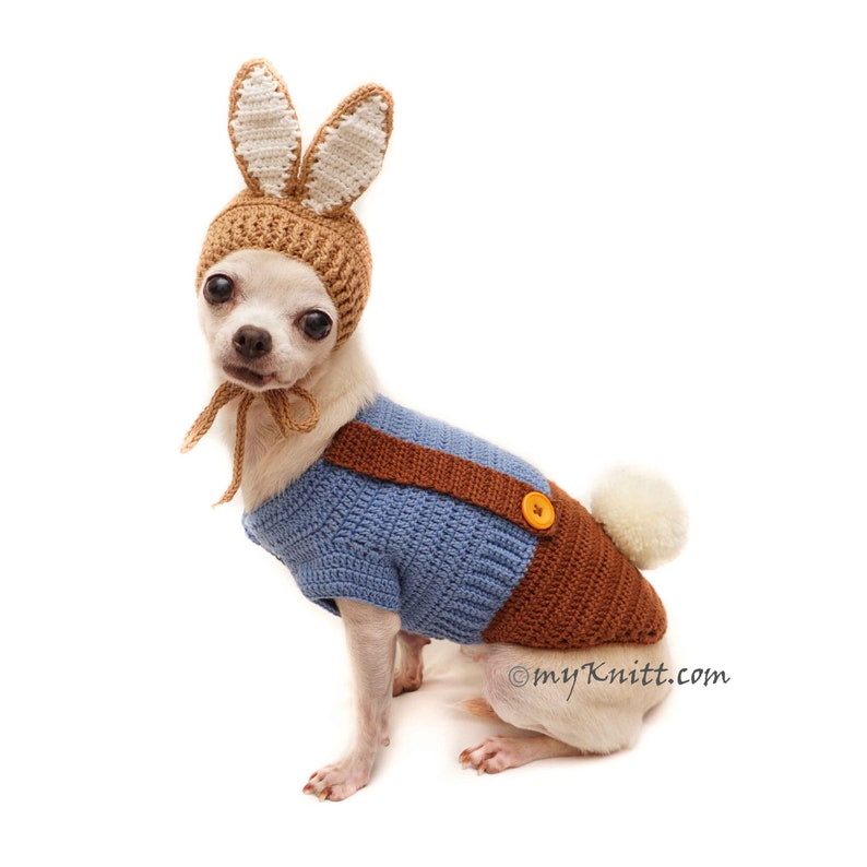 dc016dc79ac0b Peter Rabbit Pet Costume, Bunny Rabbit Dog Costume Crochet, Bunny Dog Hat  Ears Up, Chihuahua Clothes, DF149 by Myknitt - Free Shipping