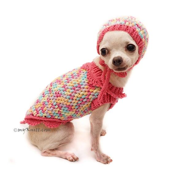 Rosa Hundebekleidung Mit Hund Hut Hund Pullover Häkeln Etsy
