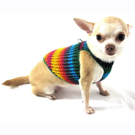 Cute Dog Harness Vest Rainbow Teacup Chihuahua Clothes Puppy Etsy