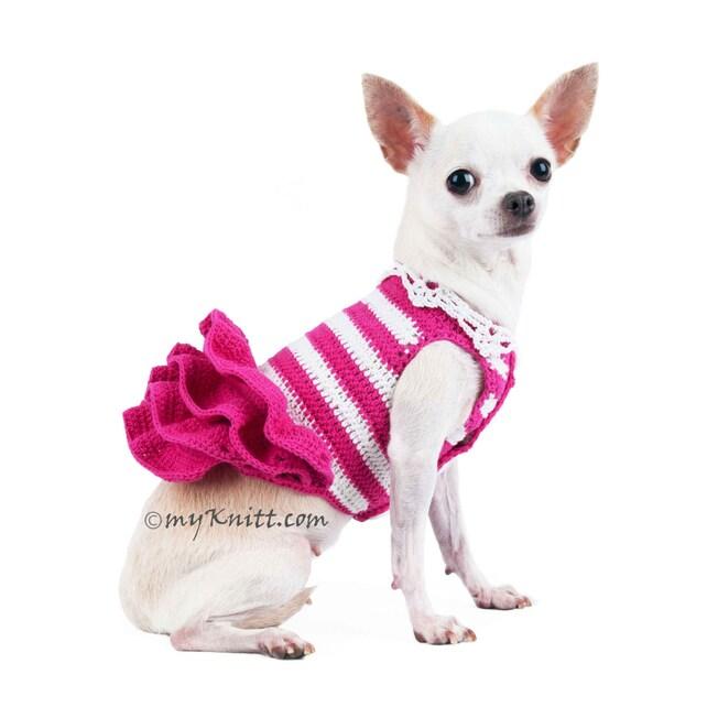 Rosa ganchillo perro boda vestido rayas falda mullida blanca | Etsy