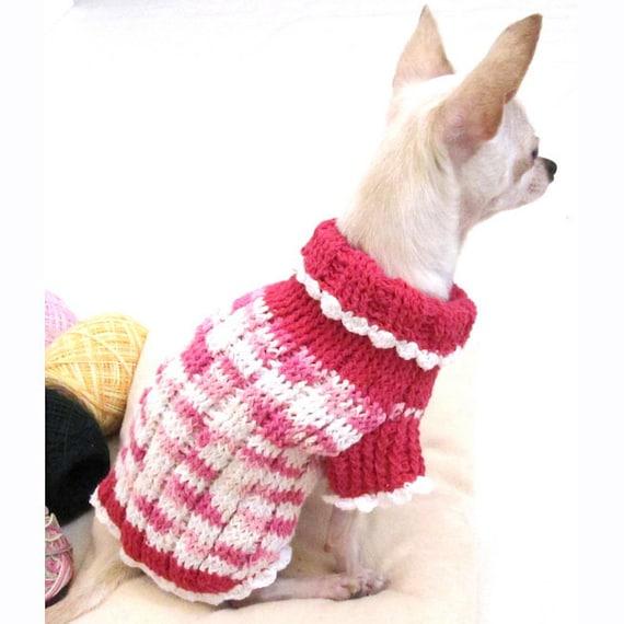 Hundepullover stricken Rosa Hund Kleidung Chihuahua | Etsy