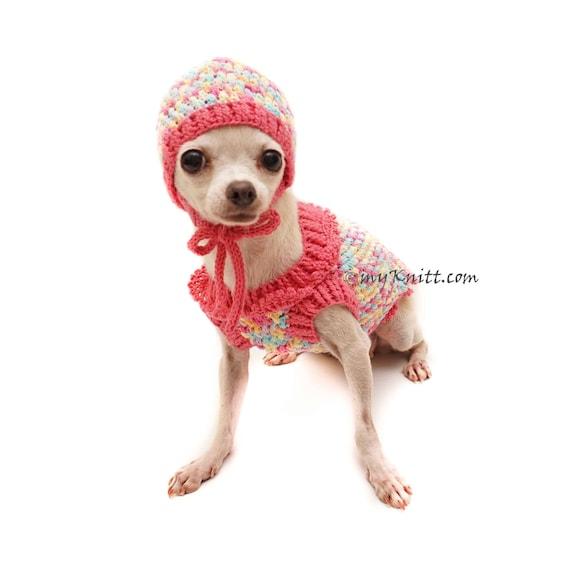 Rosa Hundebekleidung mit Hund Hut Hund Pullover häkeln | Etsy