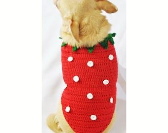 Strawberry Shortcake Dog Clothes XXS  Handmade Crochet Cute Teacup Chihuahua Clothing Puppy Yorkie Dachshund DF42 by Myknitt - Free Shipping