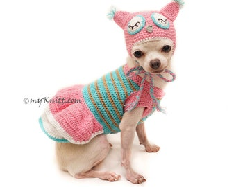 Owl Dog Costume Owl Dog Hat Pink Turquoise Owl Dog Clothes Chihuahua Clothes Personalized Dog Clothes  DF129 Myknitt - Free Shipping  sc 1 st  Etsy & Strawberry Shortcake Dog Costume Strawberry Dog Hat Crochet