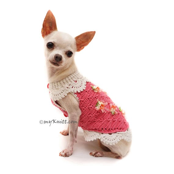 Pink Dog Sweater Crochet Lace Dress Chihuahua Clothes | Etsy