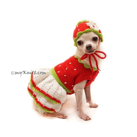 Erdbeer-Dog-Kostüm Erdbeere Hund Hut häkeln Erdbeere   Etsy