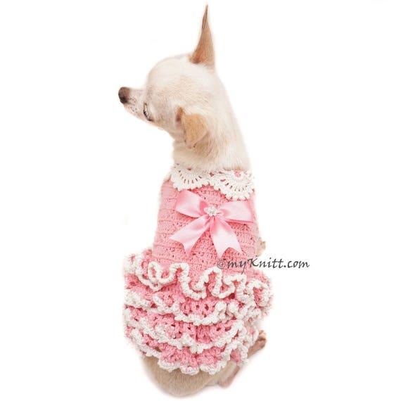 Rosa perro vestido Crochet vestido volante vestido pequeño | Etsy