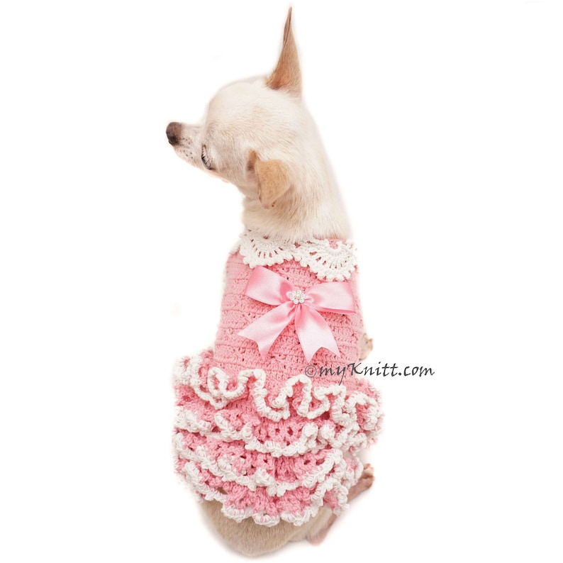 2eb117d25c6d Pink Dog Dress Crochet Ruffle Dress Tiny Dog Dress Dog | Etsy