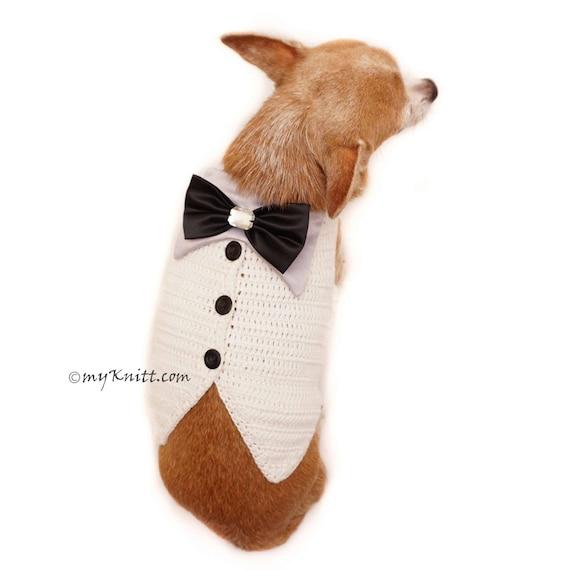 Weiße elegante Hund Smoking Schleife Hund Smoking Hochzeit   Etsy