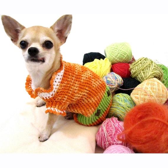 Häkeln Hund Kleidung Orange Farbe Chihuahua Kleidung Dackel Etsy