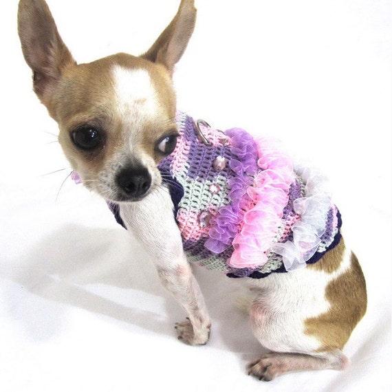 Gehäkelte Chihuahua Kleid lila und rosa Baumwolle mit Band und   Etsy