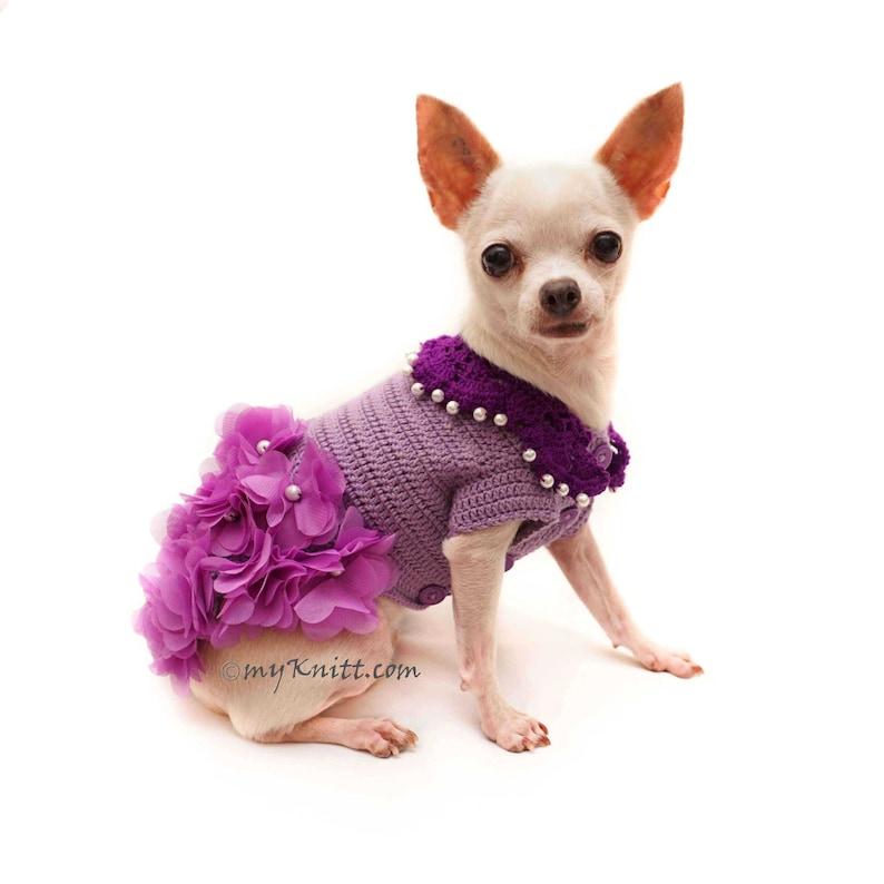 Chihuahua Morado Vestido Flor Perro Vestido Crochet Dog Boda Etsy