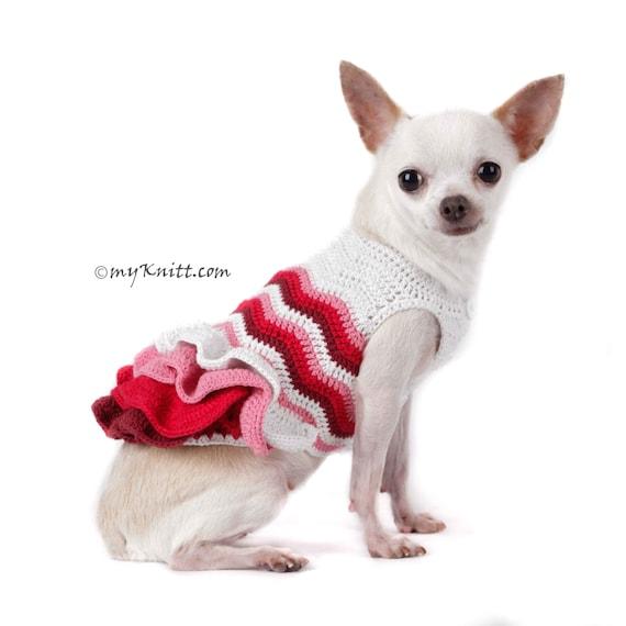 Chihuahua Clothes Handmade Knit Pet DF75 by Myknitt Custom Dog Clothes Free Shipping Ruffle Dress Pink Dog Dress Bohemian Dog Dress