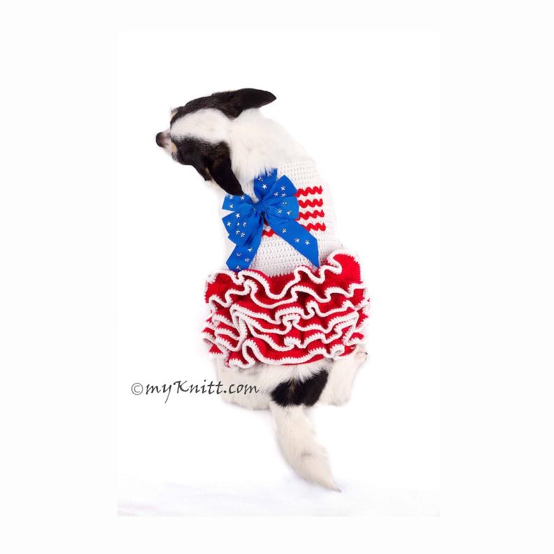 395ba775aedc0 4 lipca pies pies sukienka szydełkowane sweter USA flaga