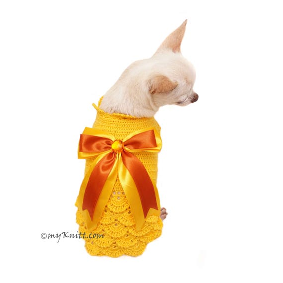 27a14e6adf08e Victorian Style Dog Dress with Silk Bow Elegant Pet Clothes