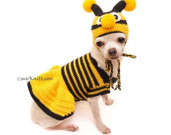 Bee Dog Costume, Halloween Dog Costume, Bee Crochet Dog Hats, Chihuahua Clothes, Personalized Dog Clothes, Pet Photo Prop, Myknitt DF133