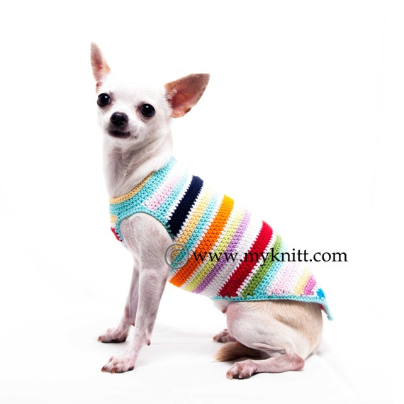 Rainbow Teacup Dog Clothes Cute Chihuahua Sweater Pet Etsy
