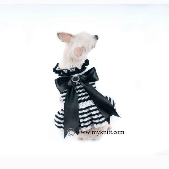 Schwarz und weiß Hundekleid mit Big Band Chihuahua Kleidung