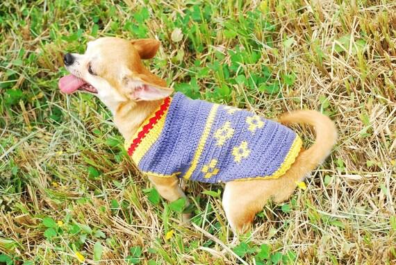 Hund Häkeln Kleidung Blumen Muster Chihuahua Pullover Welpen | Etsy