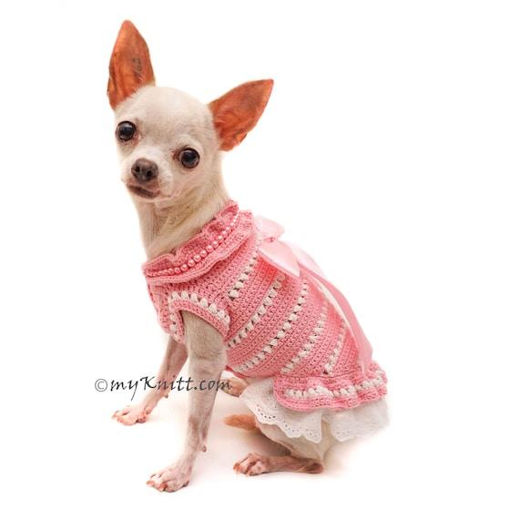 Bebé perro rosa de encaje de encaje vestido de perro mano   Etsy