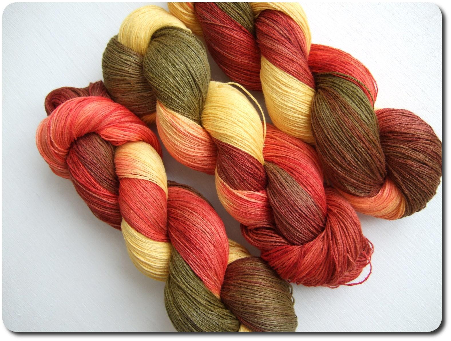 Hand Dyed 100% LINEN yarn 3 skeins 300gr 3 x 100 gr | Etsy