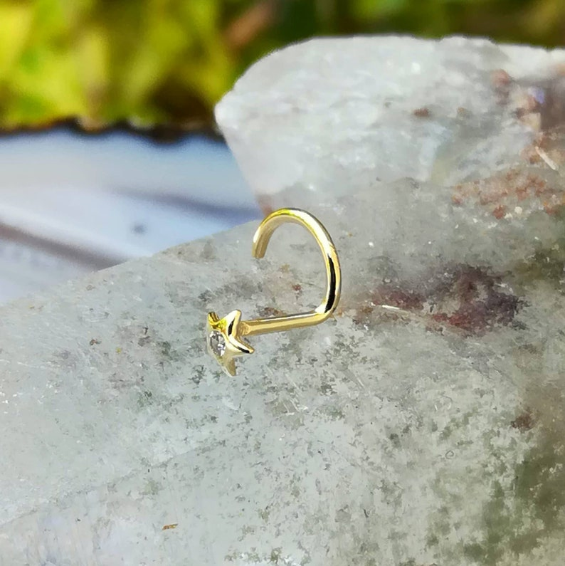 Nose Stud Nose Jewelry Studs Cartilage Earring 14K Solid  Yellow Gold Star Set With Cubic Zirconia Tragus Earring Nose Ring