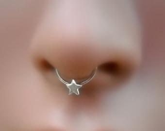 Septum Ring - Star Septum Ring - Sterling Silver Septum Nose Ring - Septum Piercing - Septum Jewelry