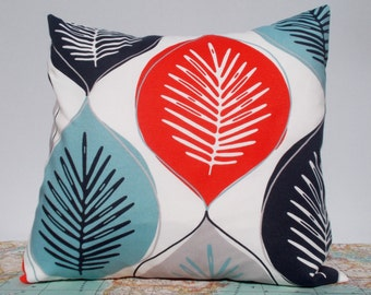 Bold pillow cover - modern pillow cover - leaf pillow cover - duckegg pillow cover - colourful cushion cover - decorative pillow