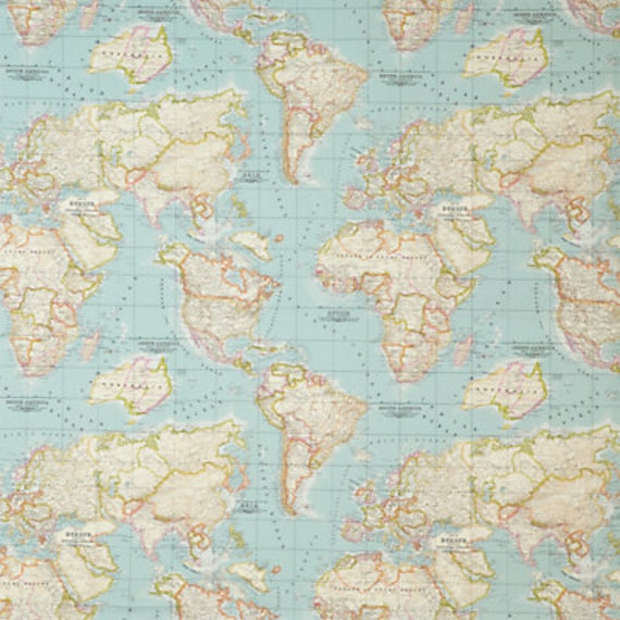 world map fabric, map fabric, world fabric, blue fabric, half yard,  yardage, ice blue fabric, mint fabric, craft supply, blue map fabric