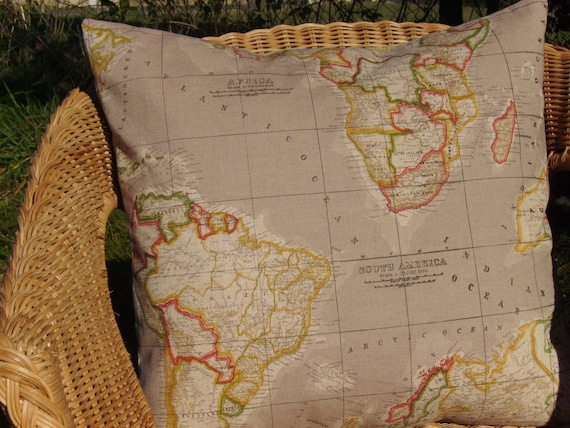 World map pillow cover natural map pillow 18 inch pillow etsy image 0 gumiabroncs Choice Image