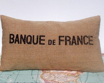 French pillow cover - recycled pillow cover - burlap pillow cover - french lumbar pillow cover - french cushion cover