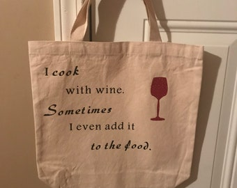 Canvas tote bag with vinyl lettering