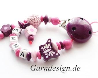 Schnullerkette mit Namen , Schmetterling , Blumen und einer Häkelperle für Mädchen