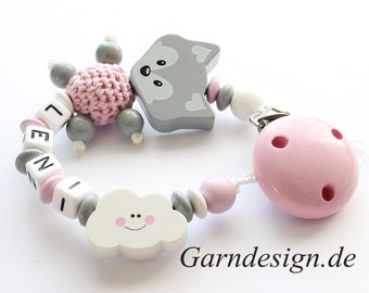 Pacifier chain girl, fox and cloud with name