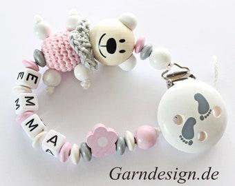 Schnullerkette Teddy Bär, Blume, mit Namen für Mädchen