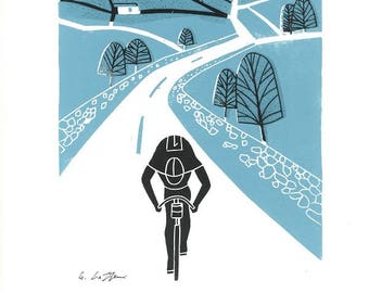 Tour de France - Original Linocut Print , Cyclist  - Cycling, Yorkshire -Blue /Black - Bike, Contemporary Bicycle - Hand Pulled,Printmaking