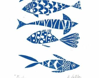 Fish Print Wall Art - Signed Linocut Printmaking Fishes,Blue, Gray and Yellow - Fishing Original  Print by Giuliana Lazzerini - Gift for Him