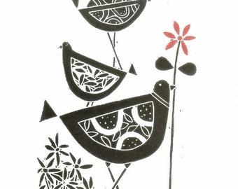 Black Birds Art Linocut - Original Lino Print, Black & and Red Flower - Scandinavian Style Lino Block Print