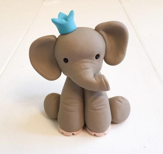 Custom Made Clay Elephant Birthday Cake Topper Etsy
