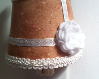 Brown & White Night Light with Felt Flower Accent