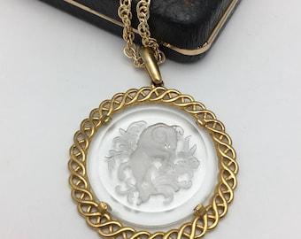 Aries Necklace Trifari pendant Intaglio Necklace Ram Necklace Zodiac Necklace zodiac pendant