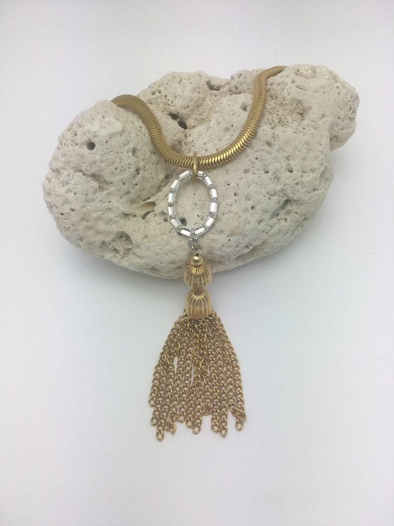 Tassel Necklace Choker Necklace Vintage Assemblage Necklace Rhinestone Necklace gold tassel