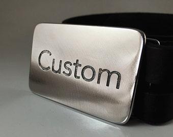 Custom Belt Buckle - Etched Stainless Steel - Handmade