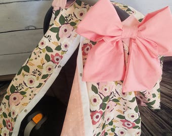 Car Seat Canopy Girl Floral Carseat Cover With Large Bow Nursing Baby Shower
