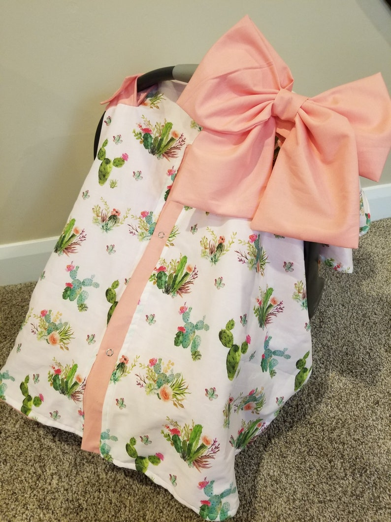 Carseat Canopy Floral Cactus Cover with Minky inside car seat cover car seat canopy boho car seat