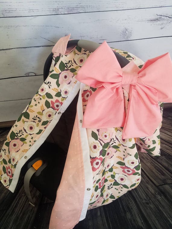 Car Seat Canopy Girl Floral Carseat Cover With Large Bow