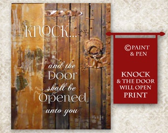 Fall Decor- Knock and the Door Will Open- Scripture on Wood- 5x7 Print- Inspirational Quote- Knock on Wood- Rustic Print- Primitive Decor